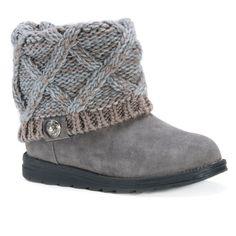 Women's Muk Luks Patti Sweater Ankle Boots - Blue/Grey 11
