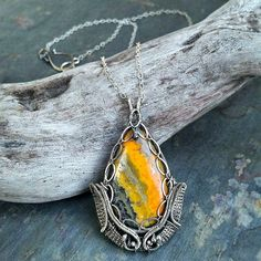 "Bumble Bee Jasper and Sterling Silver Necklace named ""Quinn"" Mandato Jewelry Design"