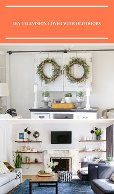 DIY Television Cover with Old Doors. Great farmhouse style living room decor idea! diy living room ideas DIY Television Cover with Old Doors