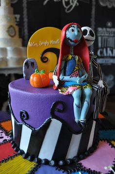Nightmare Before Christmas Topper. Christmas Birthday Cake, Birthday Candles, Wedding Cake Bakery, Wedding Cakes, Ice Cake, Fort Worth Wedding, 3d Cakes, Custom Cakes, Nightmare Before Christmas