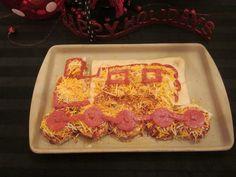 Polar Express party -- a train pizza!