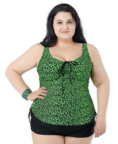 YX Womens Tankini  Shorts Swimwears Set 2 PieceSuper Plus Size Backless Swimsuits For Conservative Ladies 6XUS2022W Green * You can find more details by visiting the image link.