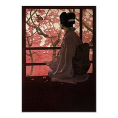 Vintage Japanese Poster Madama Butterfly Geisha - retro gifts style cyo diy special idea