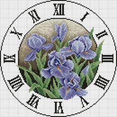Solo schemi a punto croce gratuiti: Schema punto croce orologio con gli iris