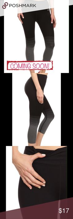 COMING SOON! Striped Ombré Leggings STRIPED OMBRE LEGGING WITH DUAL LAYER WAISTBAND. FOUR WAY STRETCH (KEEPS ITS SHAPE) FLAT SEAMS (REDUCES CHAFING AND SMOOTH COMFORT), WICKING (PULLS OUT SWEAT TO KEEP YOU DRY) 85% nylon 7% polyester 8% spandex SIZES LARGE & XL ONLY Pants Leggings