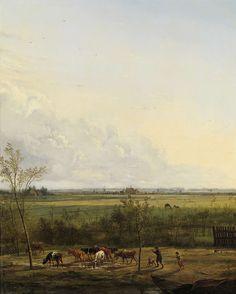 Vergezicht over de weiden bij �s-Graveland, Pieter Gerardus van Os, 1817