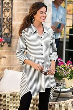 Standout Shirt  Up, down and all-around stripes are fun and flattering in this soft shirt, detailed with novelty button closure, faux back placket, 3/4 cuffed sleeves and asym