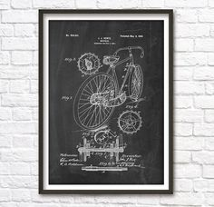 Bicycle Patent Wall Art Poster 2 by PatentPosters on Etsy
