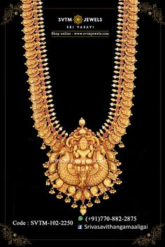 Set in yellow gold long necklace studded with kemp stones with pearl beads hanging. Shipping across India and USA. Gold Temple Jewellery, Gold Jewellery Design, Gold Jewelry Simple, Real Gold Jewelry, Women Jewelry, Necklace Set, Gold Necklace, Indian Necklace, Diamond Necklaces