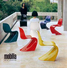 Panton-Chair Vitra - unter dem Label Herman Miller hergestellt 1968-1971, 2. Serie Polyurethan Hartschaum mit farbiger Lackierung  -  geschätzter Wert 500 € pro Stuhl