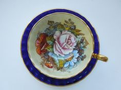1937-1938 Aynsley Footed Cup Saucer Cobalt Blue Gold Rose Poppy Flowers Signed Christmas Wedding Anniversary Birthday Collector Gift by ColorfullGifts on Etsy
