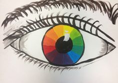 Splats, Scraps and Glue Blobs: Color Wheel Eyes Art Education,Art Lessons,lesson plans, Color Wheel Lesson, Color Wheel Projects, Color Wheel Art, Yi King, 6th Grade Art, Elementary Art, Upper Elementary, Magritte, School Art Projects