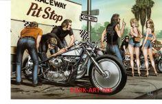 Dave Mann Art Work For Easyriders   David Mann Art Pit Crew Print Easyriders Harley Davidson Racing   eBay