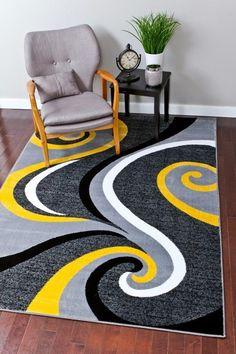 Amazon.com : 0327 Blue White Gray 5'2x7'2 Area Rug Abstract Carpet : Machine Made Rugs : Patio, Lawn & Garden