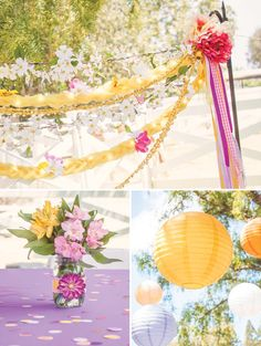 Golden braid streamers for a Tangled Birthday (clever!)