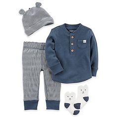 When your little guy is new to the world and searching for some comfy style, try on this 4-Piece Babysoft Take-Me-Home Set from carter's. The warm, thermal shirt is the focus, complete with matching pants, socks, and cap.