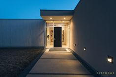 modern house, entry, front door, architecture, minimalism, lights