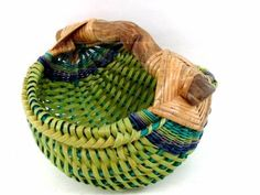 Green & Blue Hand Woven Basket