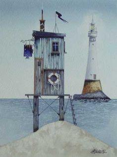 Gary Walton watercolour 'Fisherman's Retreat'