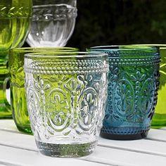Coloured Pressed Glass Tumblers. www.primroseandplum.co.uk