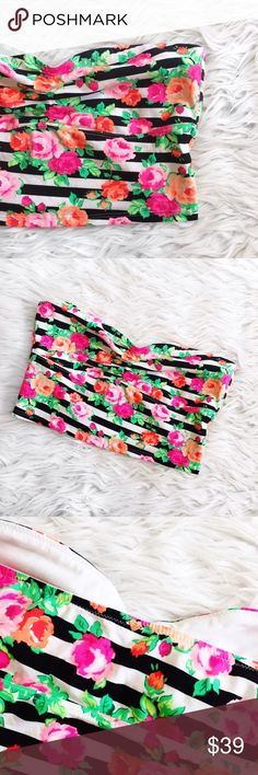 • PINK • Floral Bandeau Gorgeous striped Bandeau with stunning floral detail PINK Victoria's Secret Intimates & Sleepwear Bras