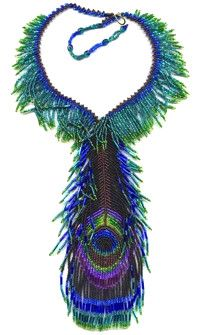Peacock Feather Necklace bead patterns by : Unique Beaded Jewelry 3189 Cedonia Addy rd Hunters, WA 99137