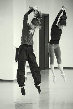 Comfy clothes doing a cool modern jump. Actors wearing contempt clothes.