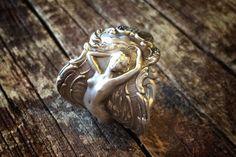 Sterling Silver Art Nouveau Phoebe Spoon Ring by AaronPaulDesigns