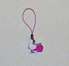 "ADORABLE LITTLE CAT CELL PHONE CHARM-PINK-WHITE-GREEN-3 1/4"" LONG-PLUS FREE GIFT-$3.99 