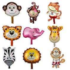 Cute Animal Head Shape Foil Balloon Zoo Birthday Wedding Party Baby Decoration