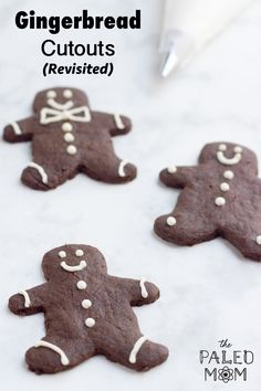 This recipe is a Paleo take on a traditional Gingerbread cut-out cookie. With tips for decorating these gingerbread man, these Paleo cookies would make a great addition to any Christmas cookie plate! Chistmas Cookies, Healthy Christmas Cookies, Christmas Treats, Paleo Cookies, Cut Out Cookies, Healthy Sweet Treats, Healthy Sweets, Gingerbread Man, Gingerbread Cookies