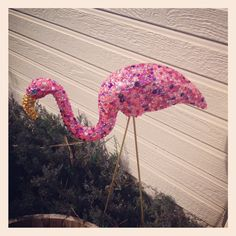 Bedazzled pink flamingo craft with golden legs. Craft bedazzled white elephant awesome pink jewels glitter