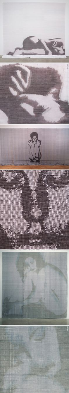 """Wonderful woven textiles {what?!} from a series titled """"Inward Gestures"""" by American artist Andrea Donnelly."""