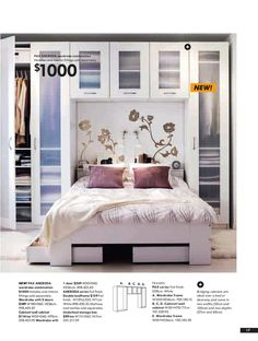 ikea bedroom ad 2008 … kind of liking this idea for behind the bed. Bedroom S… ikea bedroom ad 2008 … kind of liking this idea for behind the bed. Ikea Small Bedroom, Bedroom Storage For Small Rooms, Bedroom Storage Cabinets, Ikea Bedroom Storage, Trendy Bedroom, Ikea Storage, Wall Storage, Tiny Bedrooms, Organizing Small Bedrooms