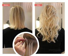 Before and after photo of hair extensions. Påsætning af hair extensions med efterfølgende styling - påsat med hot fusion. Lavet hos Myextensions i Aalborg. Find selv dine hair extensions på vores hjemmeside www.myextensions.dk. Vi har et kæmpe udvalg af forskellige metoder