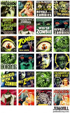 "ZoMBiES - Digital Printable Collage Sheet - Retro B-Movie Horror Posters, Cult Classic Films, 1"" Square or Scrabble Tile, Instant Download"