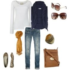 Navy & white and mustard scarf; love it! Another reasonable outfit too:) by elva