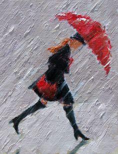 "Woman+with+Umbrella+Monet+Painting+|+Walk+On""+-+red+umbrella+rain+painting"