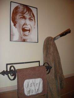 Psycho bathroom decor. The towel says bates motel.