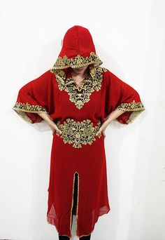 #MeetMeInMorocco  Fancy RED tunic HOODIE dress moroccan gold embroidery by aboyshop, $36.99