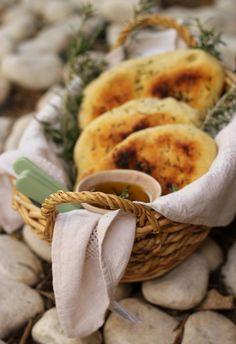 Mediterranean rosemary BBQ flat breads in a rustic basket