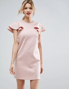 ASOS Pink Double Ruffle Sleeve Shift Dress