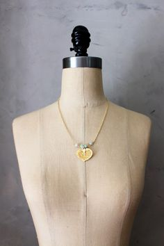 CROWNED LEAF - 24k gold dipped leaf with natural stone necklace //