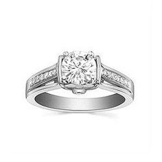 Engagement Ring with 0.167 CT. T.W. side diamonds, Round Shape