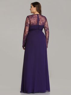 e1737661f2 V Neck Long Evening Gown with Lace Sleeves