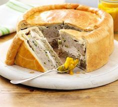 Chicken & Stuffing Picnic Pie: A Delicious King-sized Chicken Pie With Sausage, Sage and Onion. Bbc Good Food Recipes, Pie Recipes, Chicken Recipes, Cooking Recipes, Yummy Food, Curry Recipes, Snacks Recipes, Recipe Chicken, Recipies