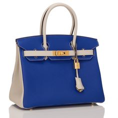 Hermès Bi-color So Blue Electric And Gris T Togo Birkin 30cm Tote Bag | Totes on Sale at Tradesy