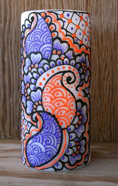Henna Style Painted Candle Purple Orange and by LucentJane on Etsy, $30.00