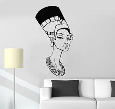 Vinyl Wall Decal Portrait Beautiful Nefertiti Egyptian Queen Egypt Stickers Mural (ig5045)