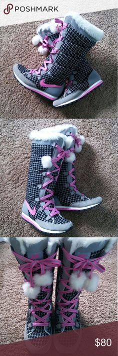 *RARE* Nike Knee High Boots These are black, gray, pink and white boots. They are in excellent pre-owned condition with no blemishes! Wear them with jeans or leggings! Great addition to your closet! Nike Shoes Lace Up Boots